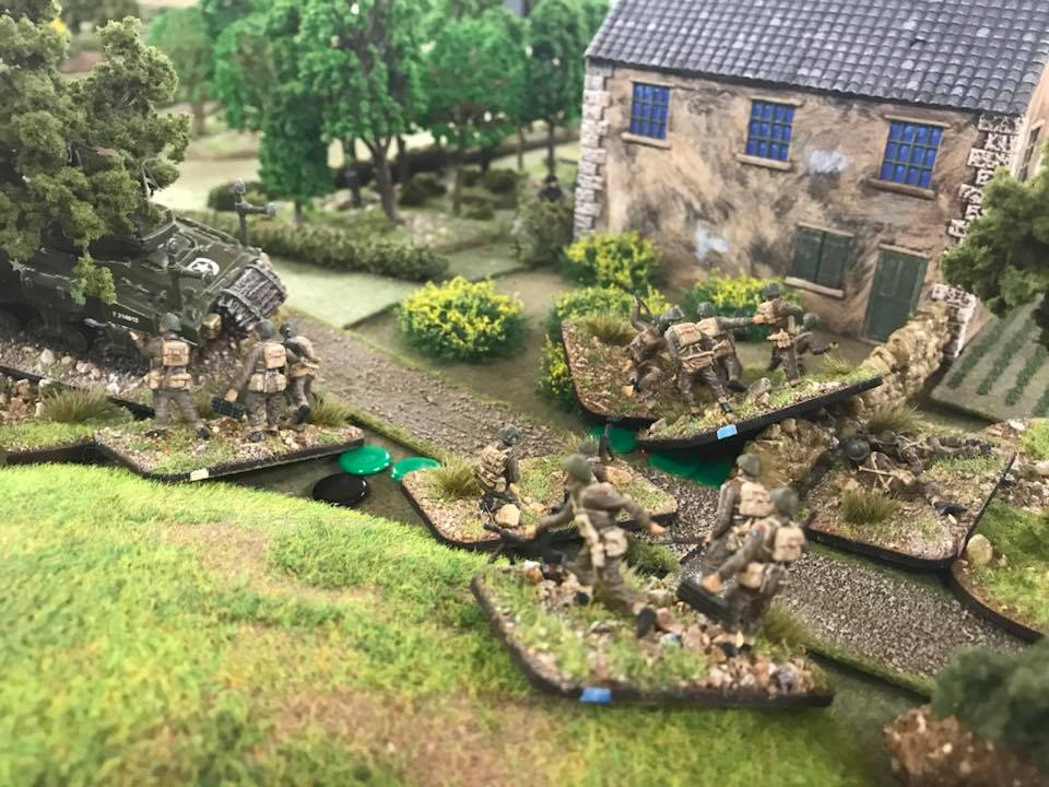 The fight for the farmhouse. It got nasty with sections intermingled. The flail tank was lost earlier and us on the left.