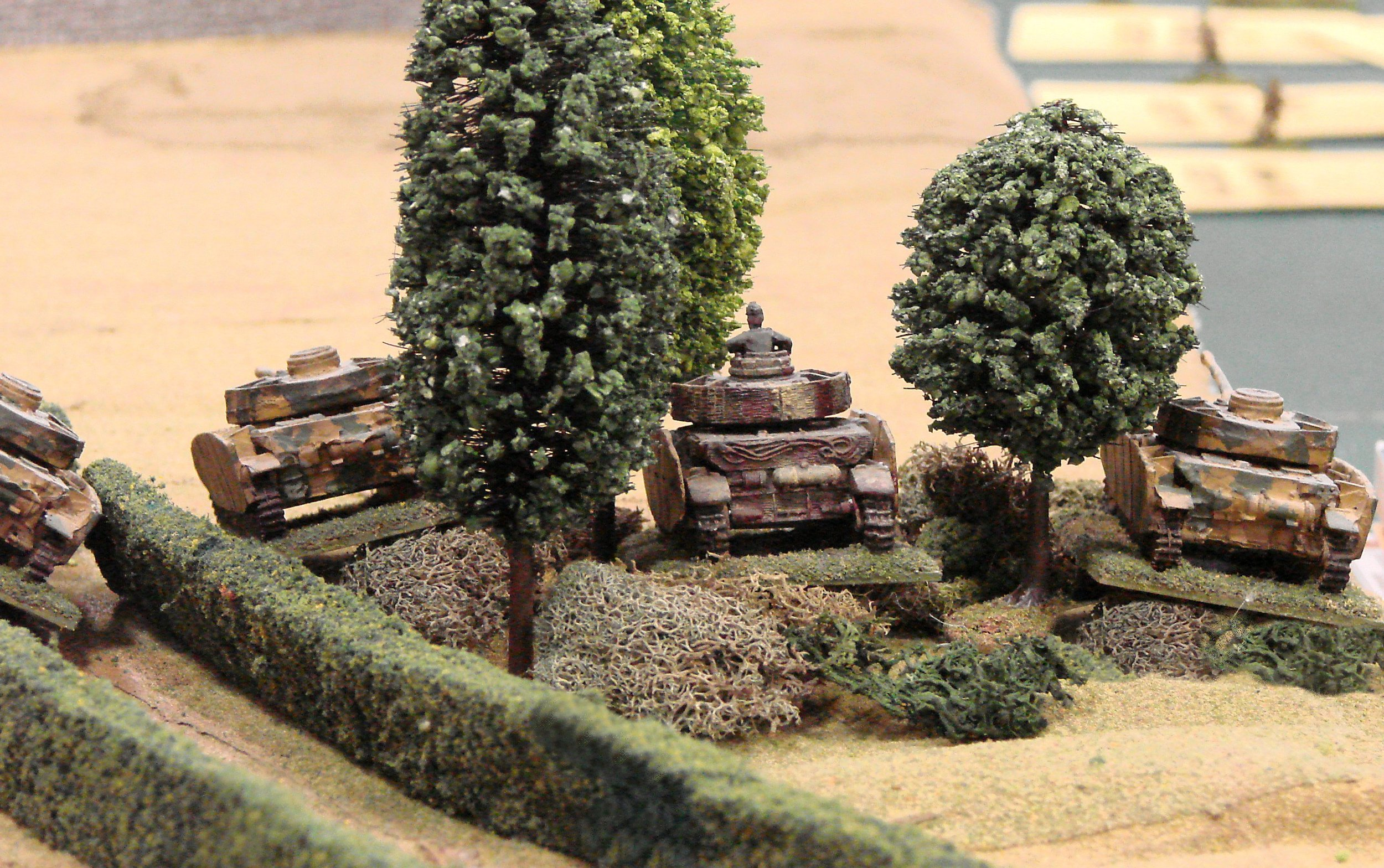 The remaining three Panzers scramble into the woods, bypassing the disabled tank.