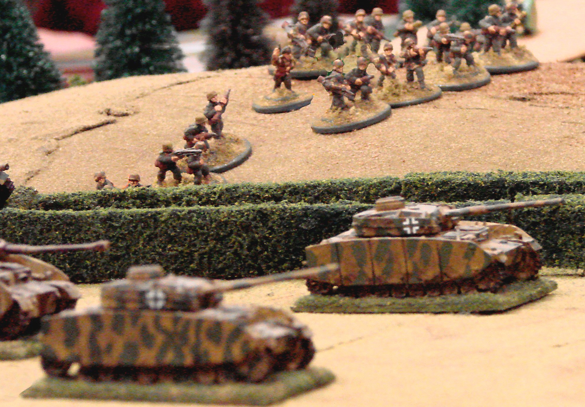Back on the right flank the Panzers have sorted themselves out after the artillery barrage, and cover the flank of their infantry.