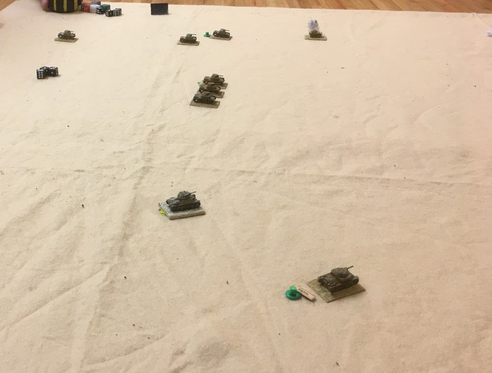 The Italians have their third troop on table and, scenting blood, are advancing down the table.
