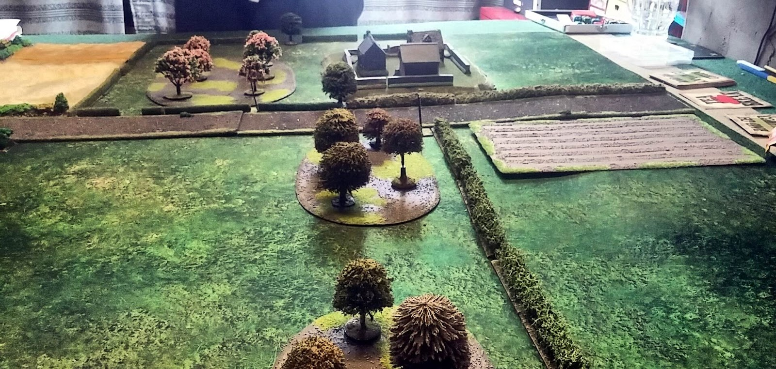 The German set up area with lots of terrain 'Blinds' areas