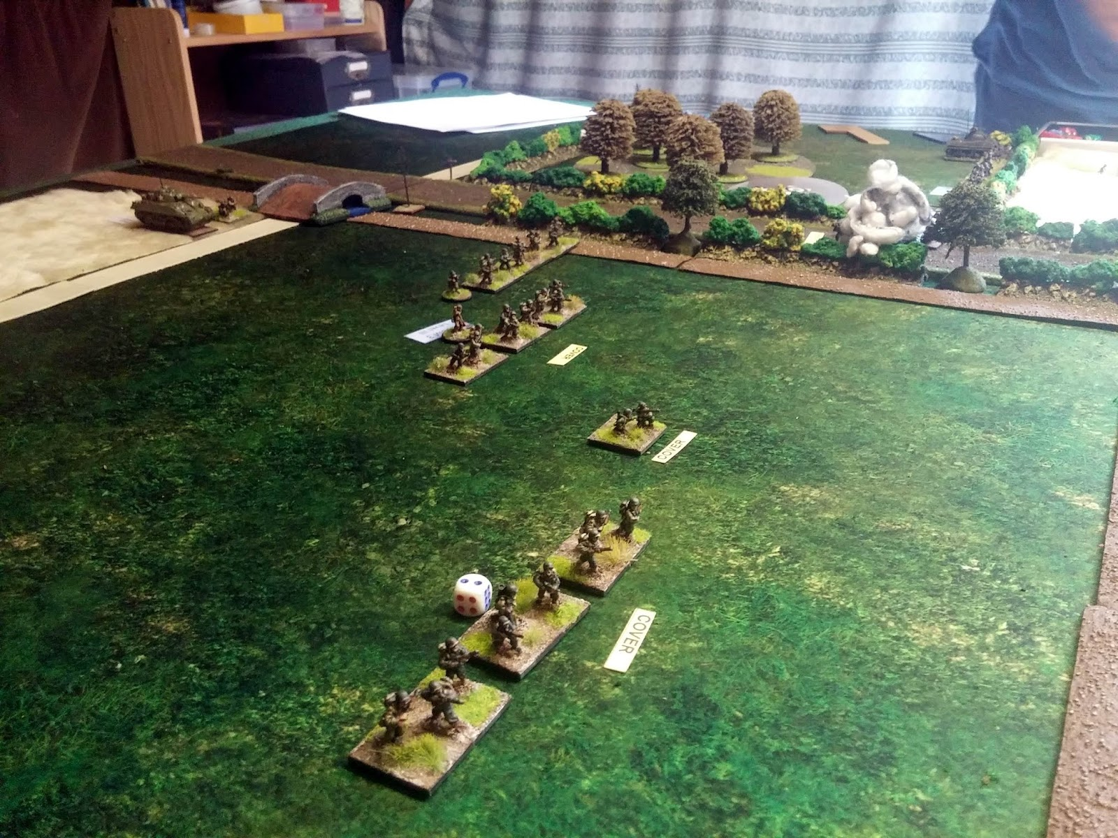 And advancing against my left with Tank support (one Sherman brewed on road)