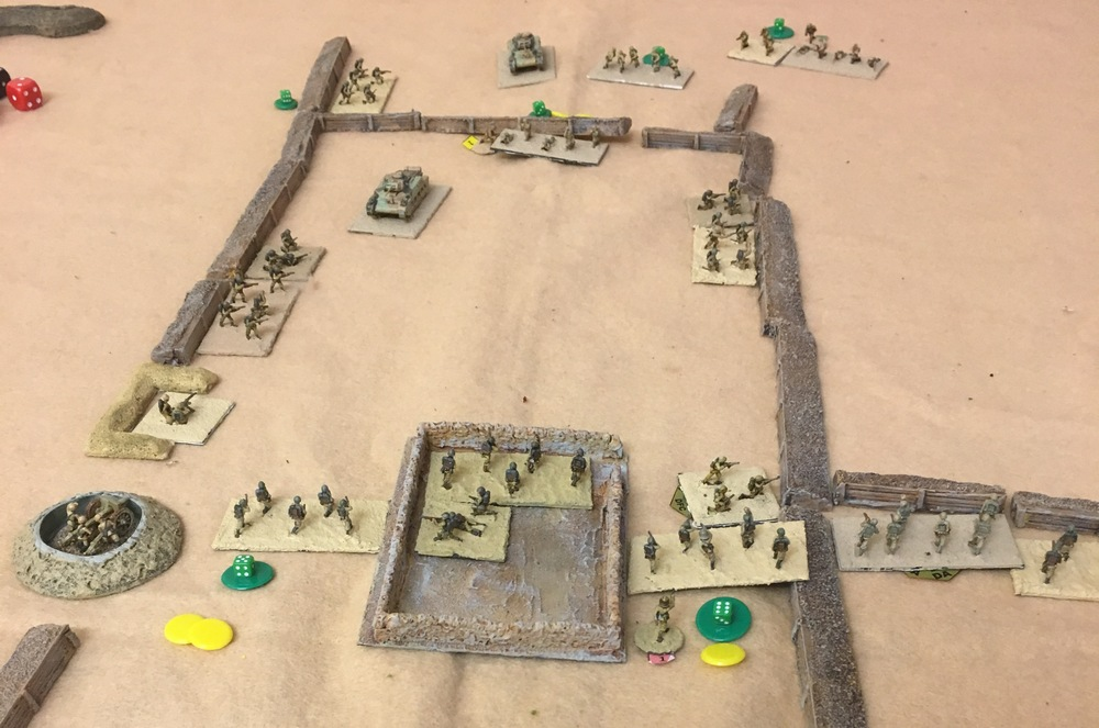 The Australians have taken the far trench and are now being supported by the tanks.