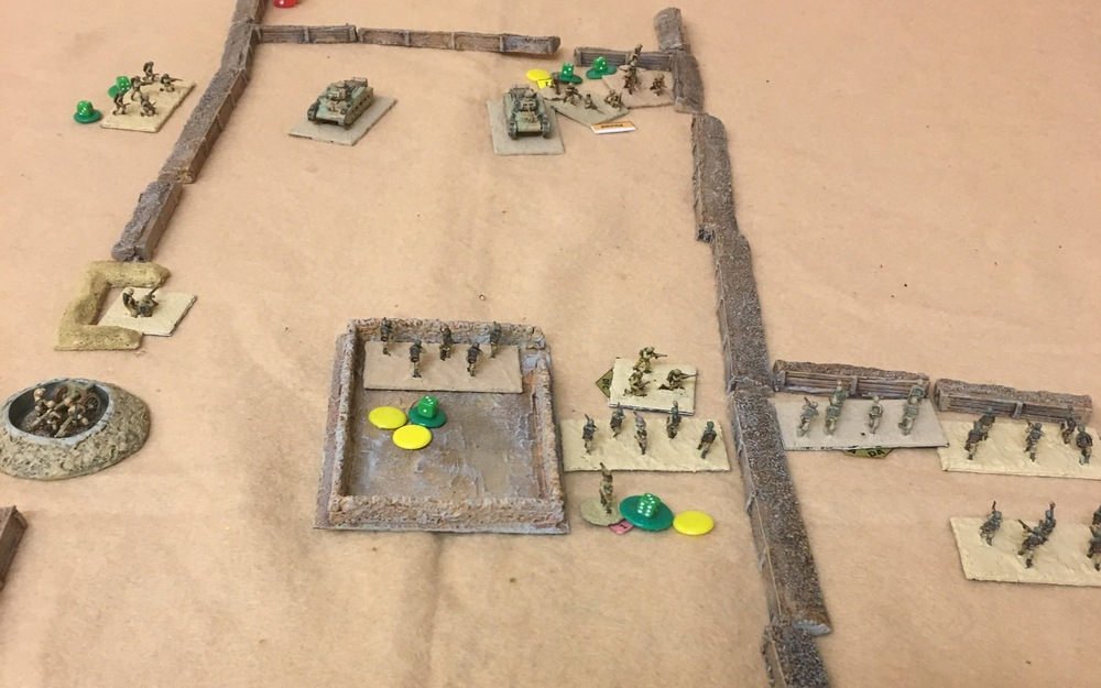 After taking heavy casualties from the tank machine guns the Italians have retired to the dugout.