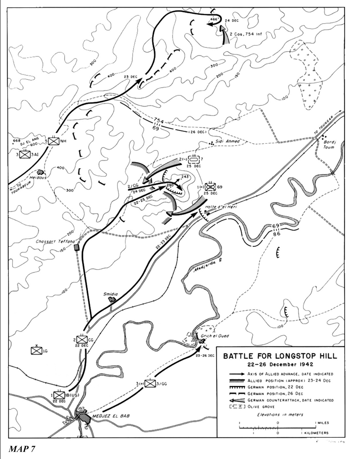 The Battle for Longstop Hill showing the area for our battle around Sidi Ahmed to the north east