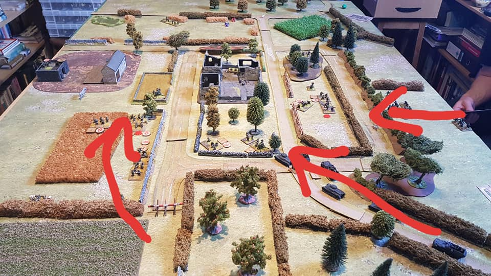 German axis of attack. The Brits had to withdraw along the road top left after two hours of play, whilst the Germans were trying to force their way through on the same route.