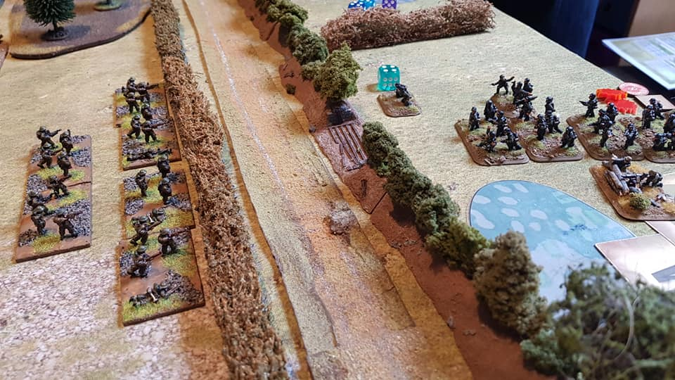 Meanwhile, a flanking action by a German platoon on the right is stopped in its tracks by plucky British infantry.