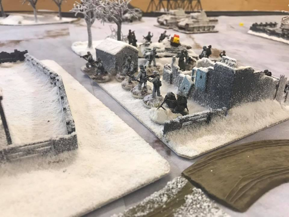 German infantry deploy, but were hit by concentrated MMG fire, and stalled.