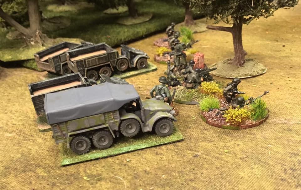 The German heavy weapons platoon arrives.