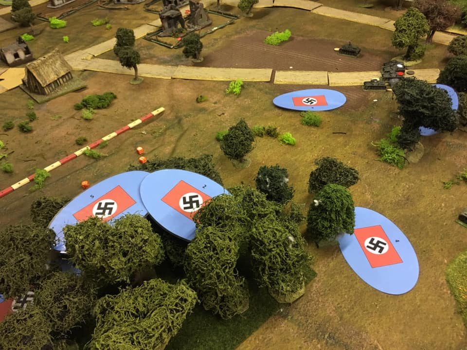 The Germans enter the table on Blinds. The ruin centre top of the picture holds two Polish 37mm AT guns in its grounds. These would go on to cause much consternation to the Panzers.