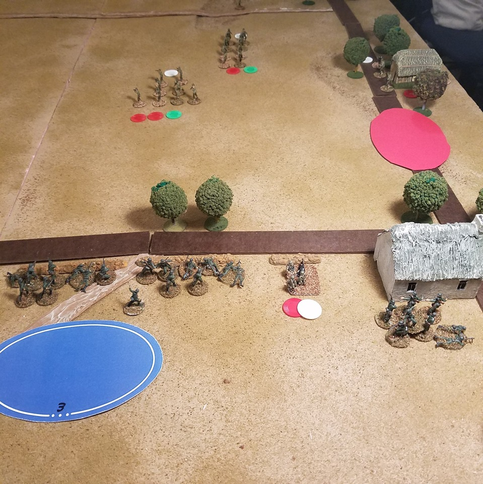 The German right was so engrossed taking on the American infantry ... and spotting dummy blinds that the American Shermans were able to zip down the road under the Red Blind.