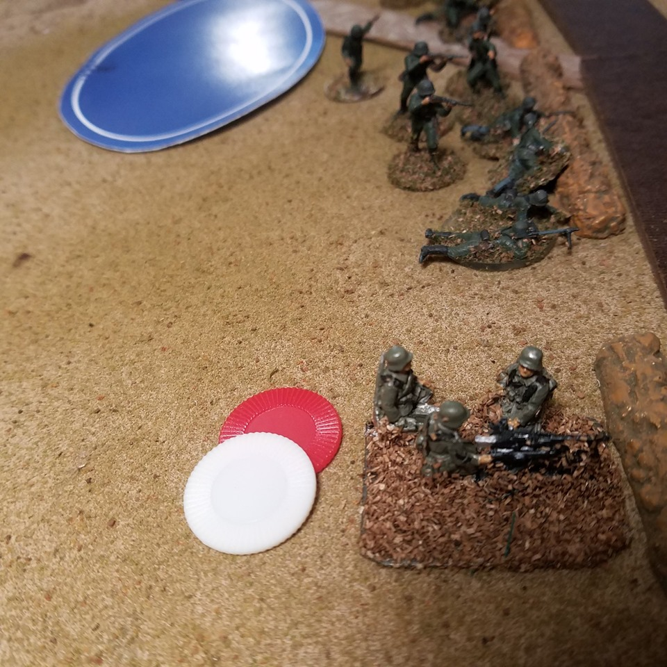 Airfix Germans and SHQ MG Team defend the road.
