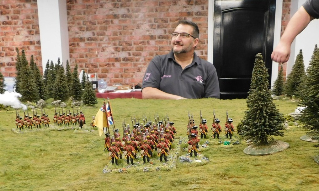 The Man Himself: Organiser Ade and a 28mm French Indian Wars Affair.