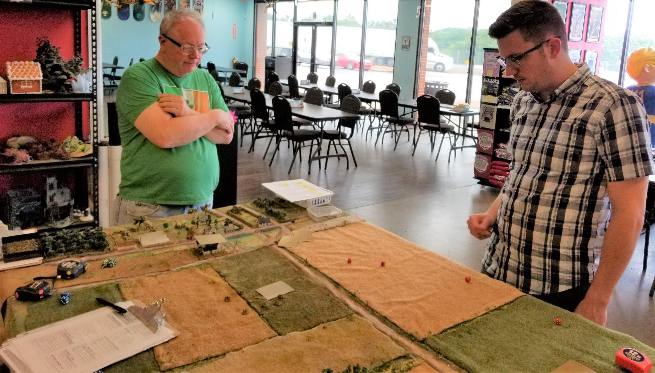 John and Matt discussing the flat terrain