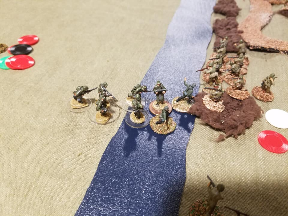 SHQ Panzer Grenadiers lead by an Airfix Captain attempt to storm the American trenches