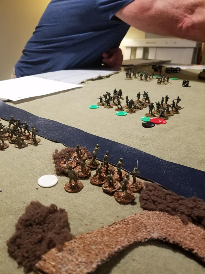The American left flank rifle fire chips away at the German right