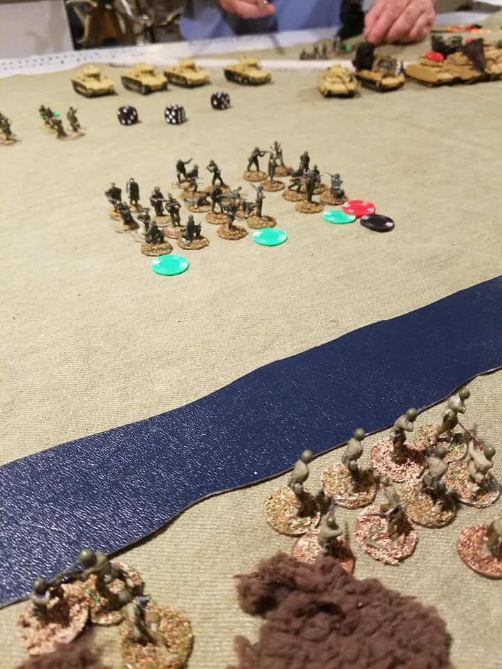 """The German right flank. Green chips for """"taking cover"""", Red for Shock and Black for Pin."""