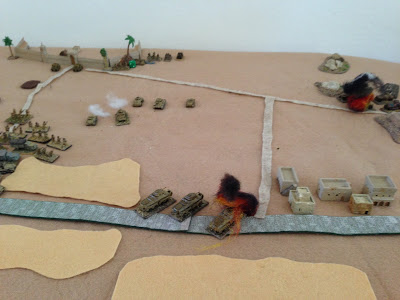 An armoured car duel develops, which the KDG eventually lose. German Infantry debouch from their trucks and form up to assault. It`s only a matter of time for the defenders.