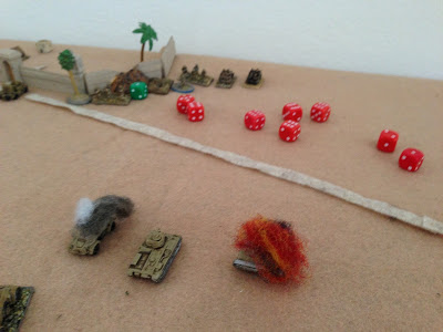 The Corporal and his Tower Hamlet`s rifles fight well, driving off the Recce Group, and actually knocking out a Panzer II with the Boys AT Rifle. They cannot stop the attacking German infantry, who destroy the Aussie portees.