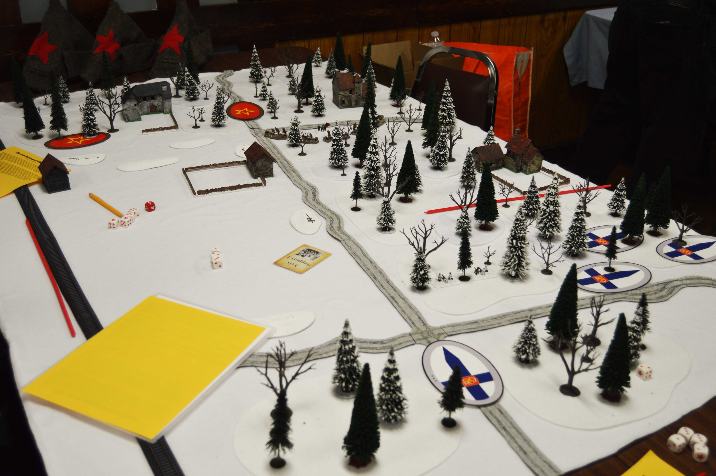 Finns move into the forest along the southern table edge.