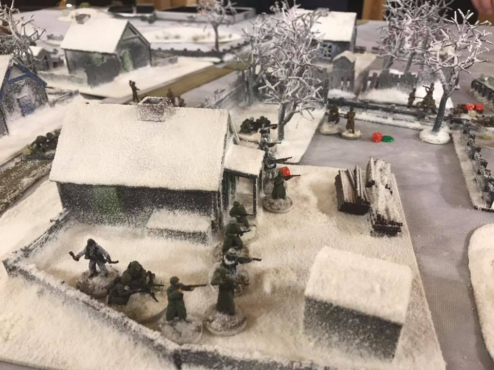A German platoon catches a Soviet unit in the flank and in close combat beats it soundly.