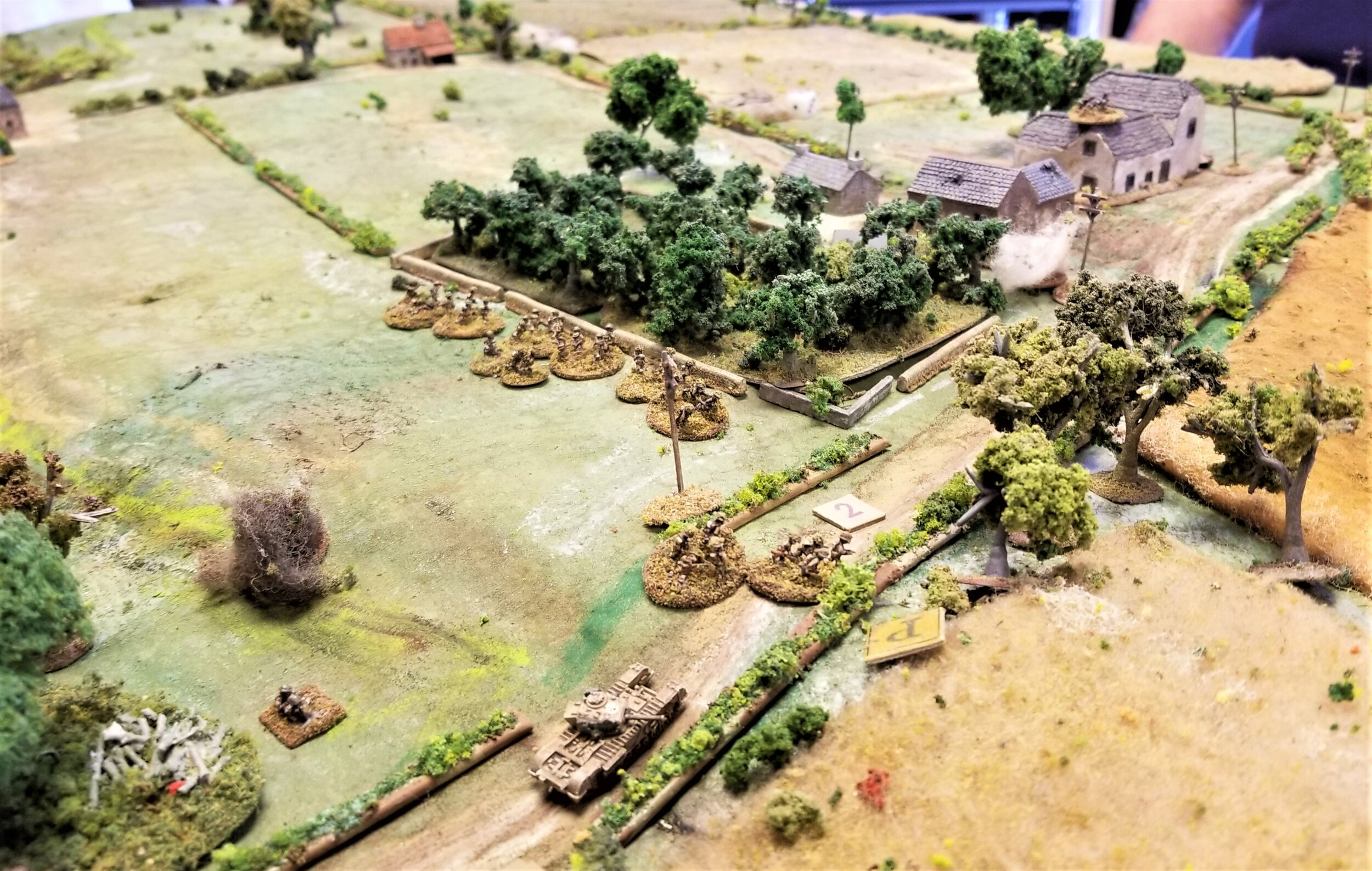 First attack on the ridge buildings