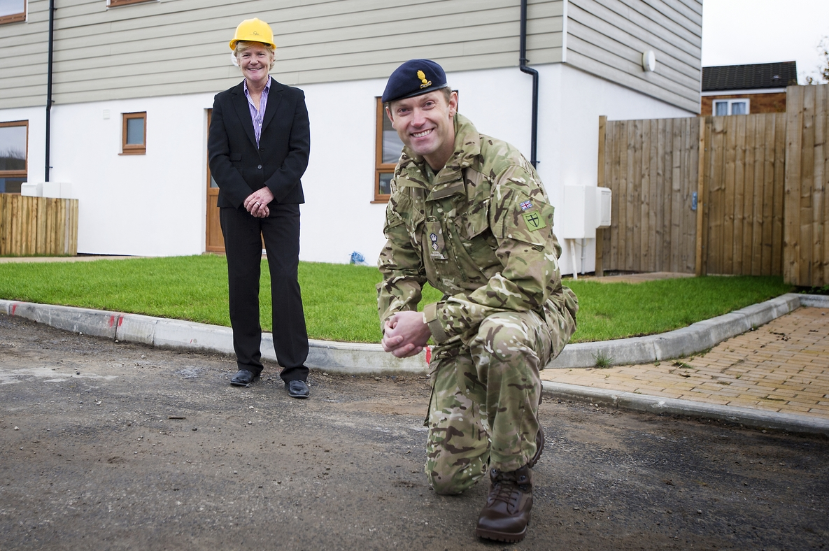 HPBC CEO Liza Parry and Lt Col Alan Mason of the 75 Engineers regiment of the Territorial Army
