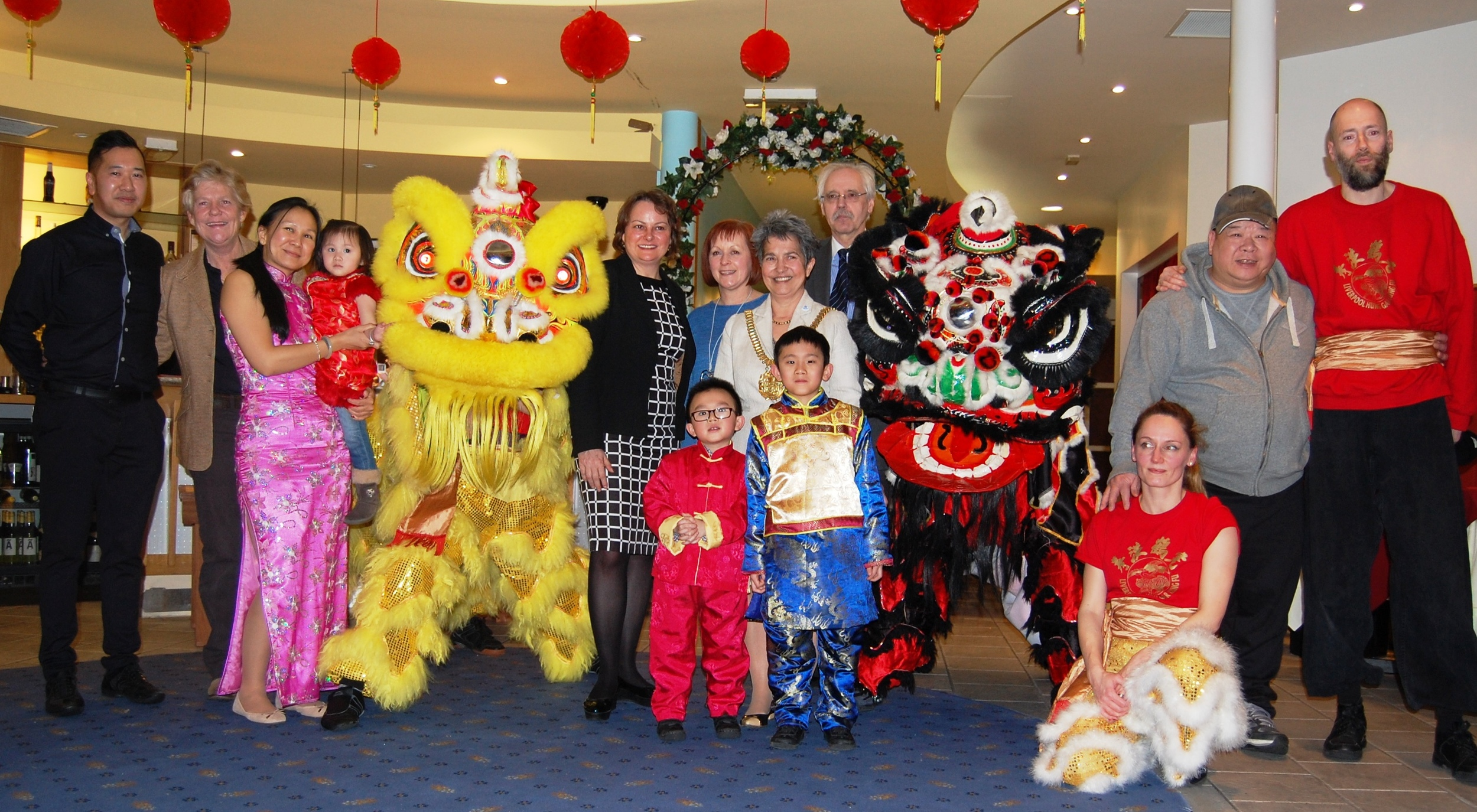 East Meets West:The Lord Mayor of Liverpool Cllr Erica Kemp CBE and Cllr Richard Kemp, pictured with representatives of Housing People, Building Communities, Business in the Community and the Chung Ku restaurant.