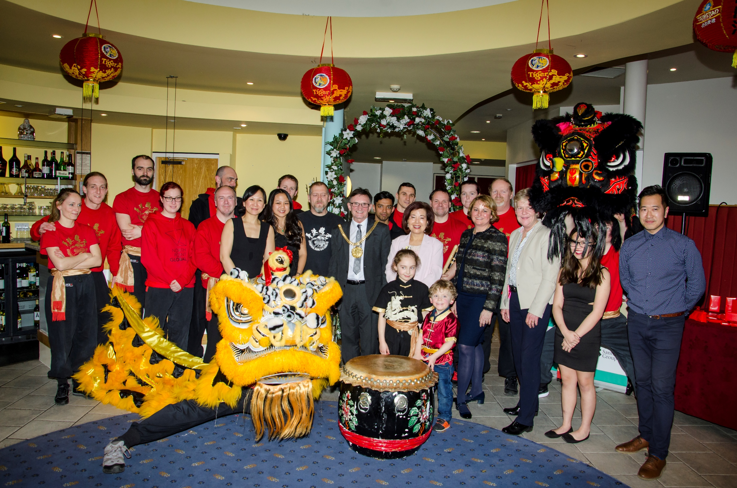 Lord Mayor of Liverpool, Cllr Tony Concepcion, with representatives of HPBC, the Chung Ku restaurant and Liverpool Hung Gar Kung Fu school.