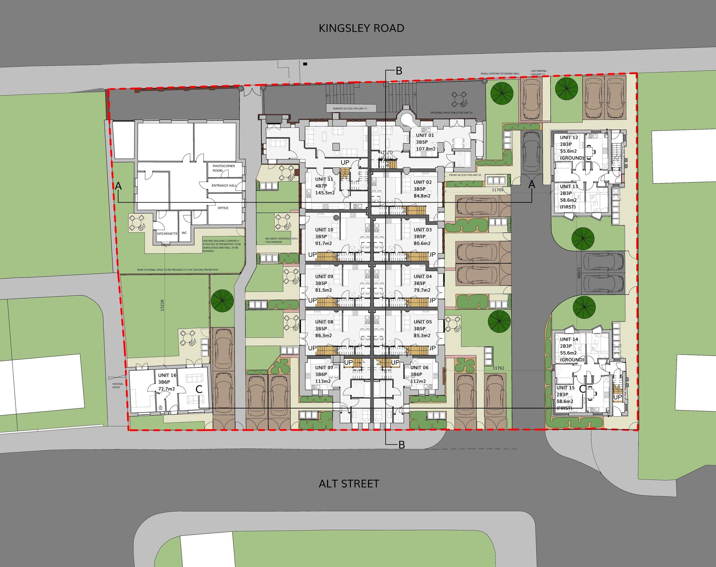 Site layout for St Bernard's Church plans