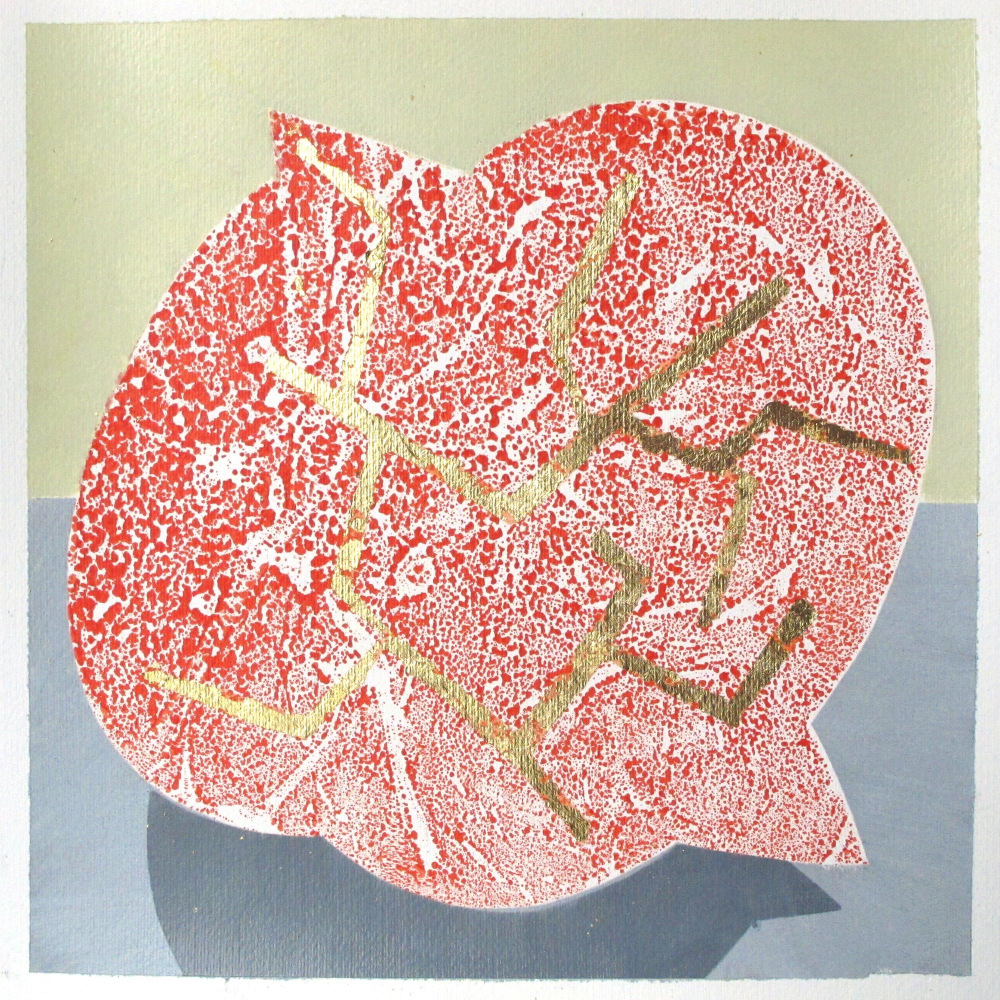"""Serien """"Frukt og robot""""  2011. 40 x 40, Gummitempera og metall på papir"""
