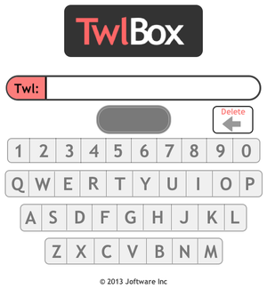 Twlbox   Twlbox.com helps people connect to content via 3-4 digit codes! It was one of the first products developed by Joftware (SoftwareRandD.com) and greatly inspired FinancialContribution.com.