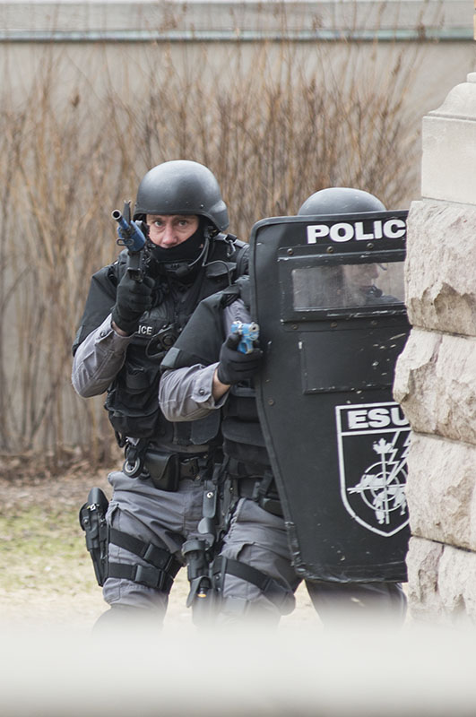 Top Cops:  Sault Ste. Marie Police Services take part in a training scenario Thursday, April 23, 2015,  at the Court House.