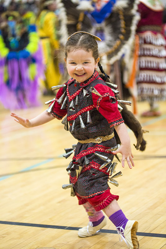 Tiny Footprints:  Willow Couture, 3 dances in her Jingle Regalia Saturday March, 7th, 2015,  during an intertribal dance at The Gathering at the Rapids Pow Wow at White Pines.  The event was hosted by Algoma University, the Anishinaabe Initiatives Division and the Shingwauk Anishinaabe Students' Association.