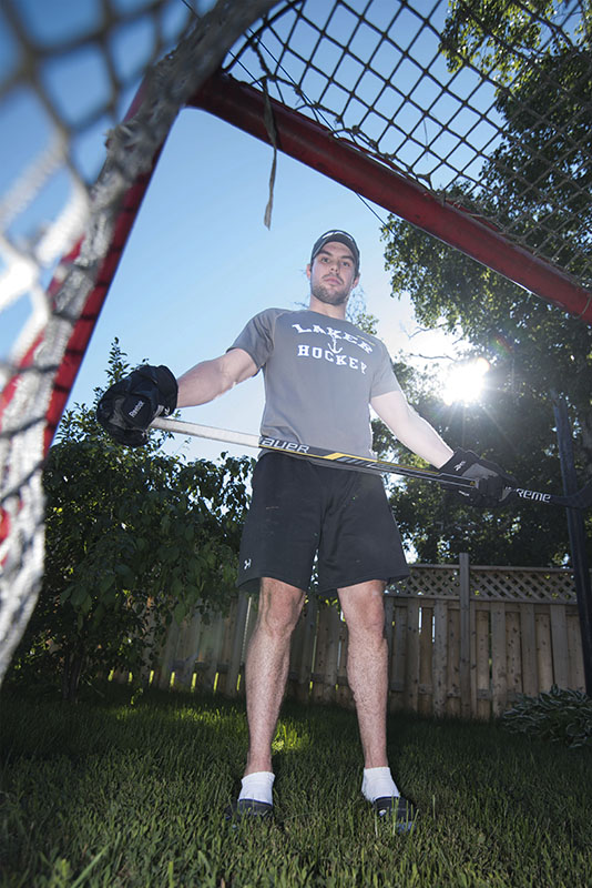 THE WRIGHT APPROACH — Lake Superior State University Lakers defenceman Aidan Wright practices hockey in a backyard setting during the summer months.