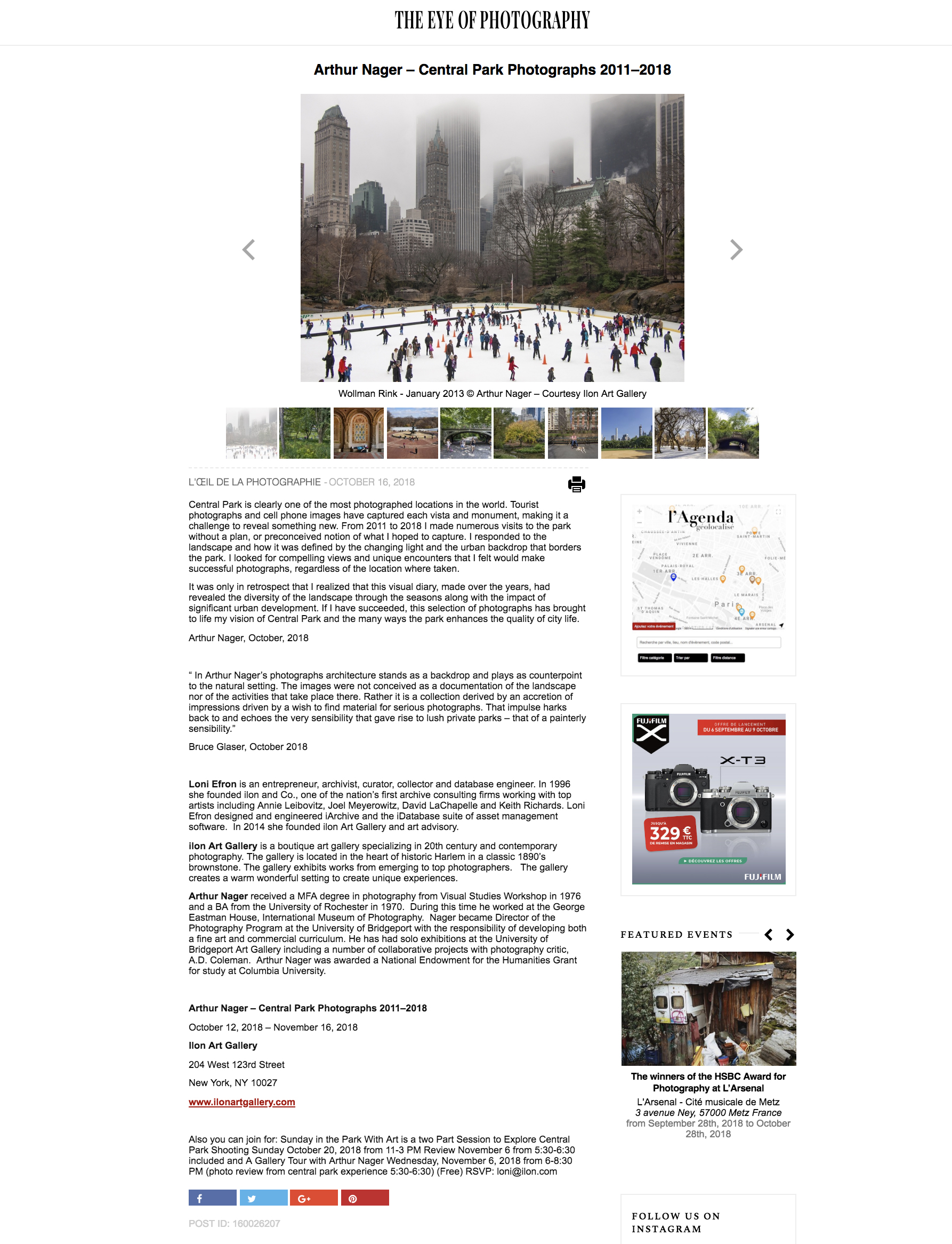 THE EYE OF PHOTOGRAPHY Showcased Central Park Photographs at the Ilon Gallery