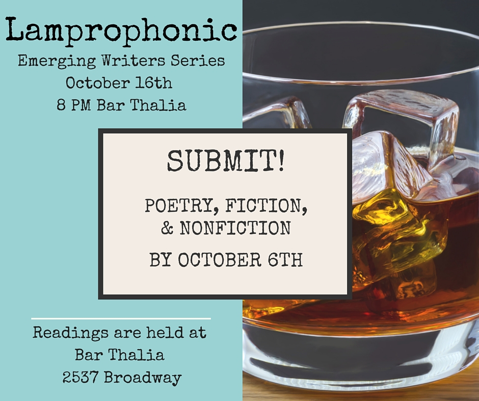 Dream of getting paid in whiskey? Send us six pages of your best work by October 6th at 9 p.m. and watch what happens! http://www.lamprophonic.com/emerging-writers/