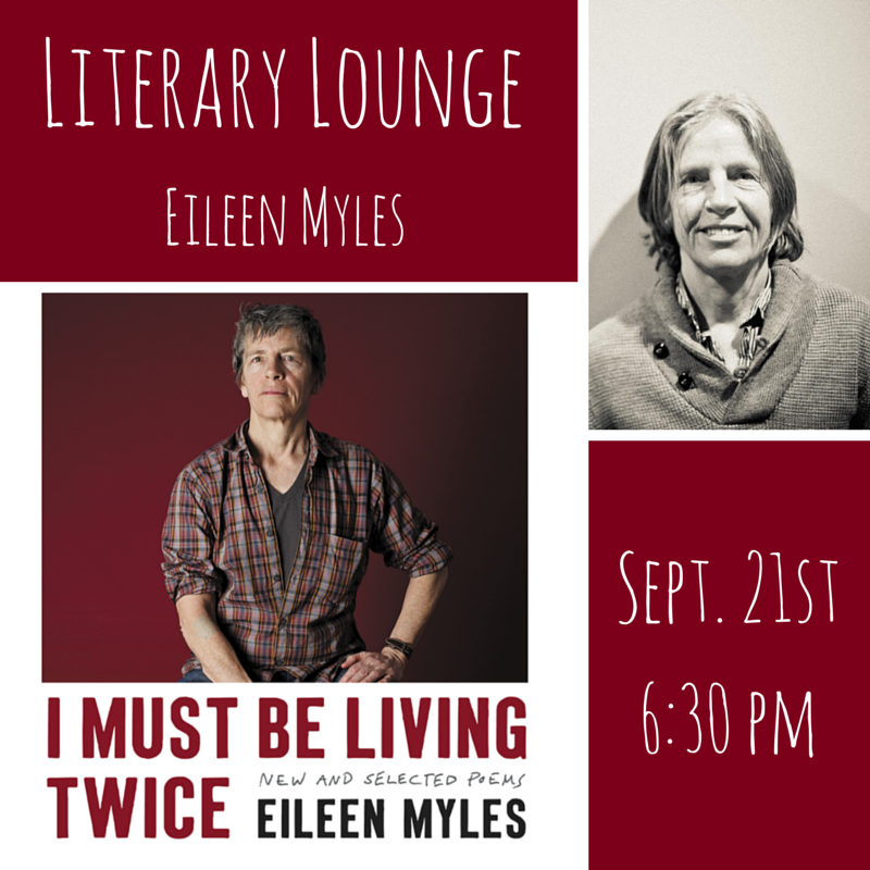 One week from today, we're in Riverside Park (Pier  i,  W70th and the River) chatting with the wondrous Eileen Myles for Literary Lounge!    Click here for more info.