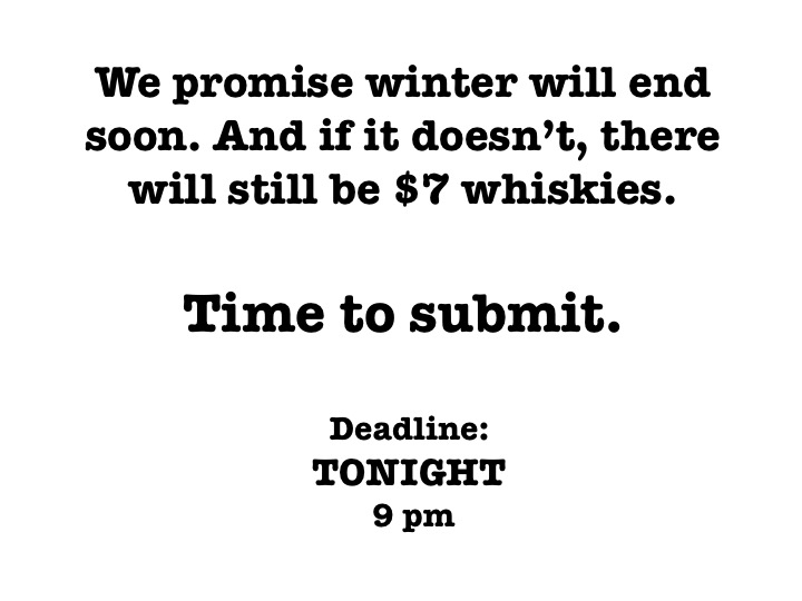 Submit by 9 pm to read at March's Emerging Writers Series. More details here: http://www.lamprophonic.com/emerging-writers/