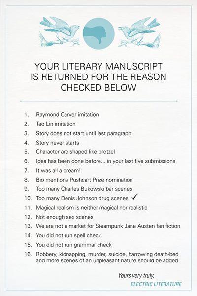 "nouvellabooks :     ""8. Bio mentions Pushcart Prize nomination""   I mean.  Electric Literature is killing it ."