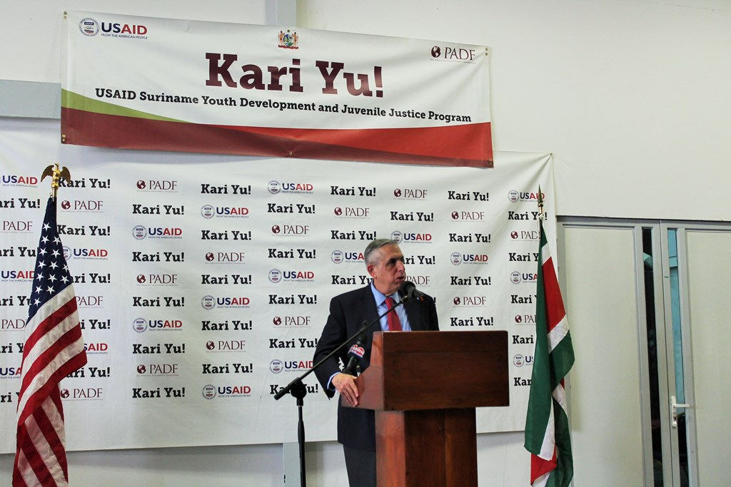 PADF Executive Director John Sanbrailo gives remarks at the Kari Yu! graduation ceremony on August 28, 2015.
