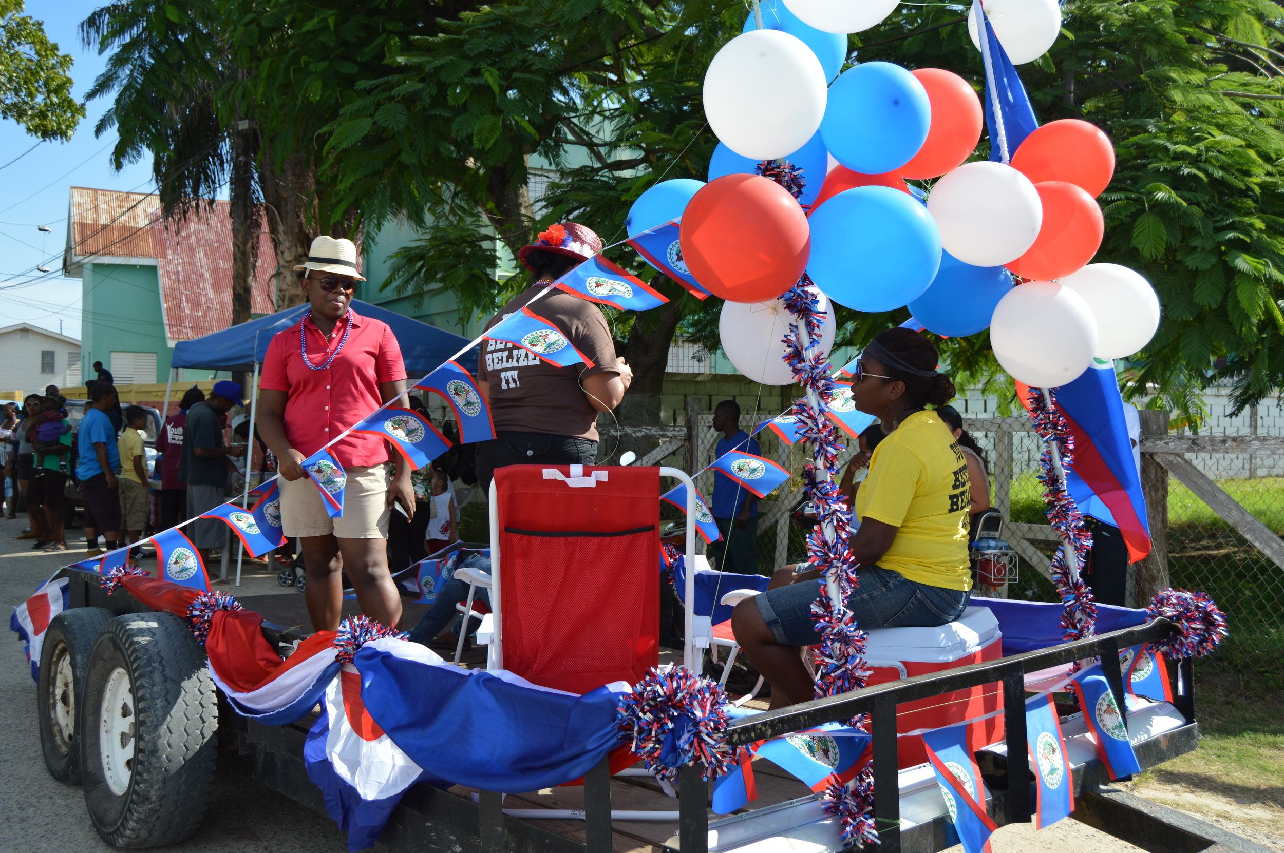 PADF staff ride the parade float