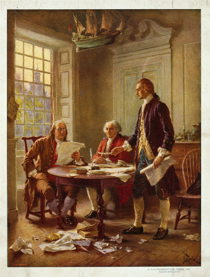 Benjamin Franklin (at left), John Adams and Thomas Jefferson (standing) review a draft of the Declaration of Independence.  Jean Leon Gerome Ferris / Library of Congress