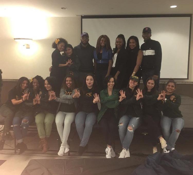 Sisters of Omega Phi Beta Sorority with members of the Haitian Student Association,Binghamton University - SUNY.