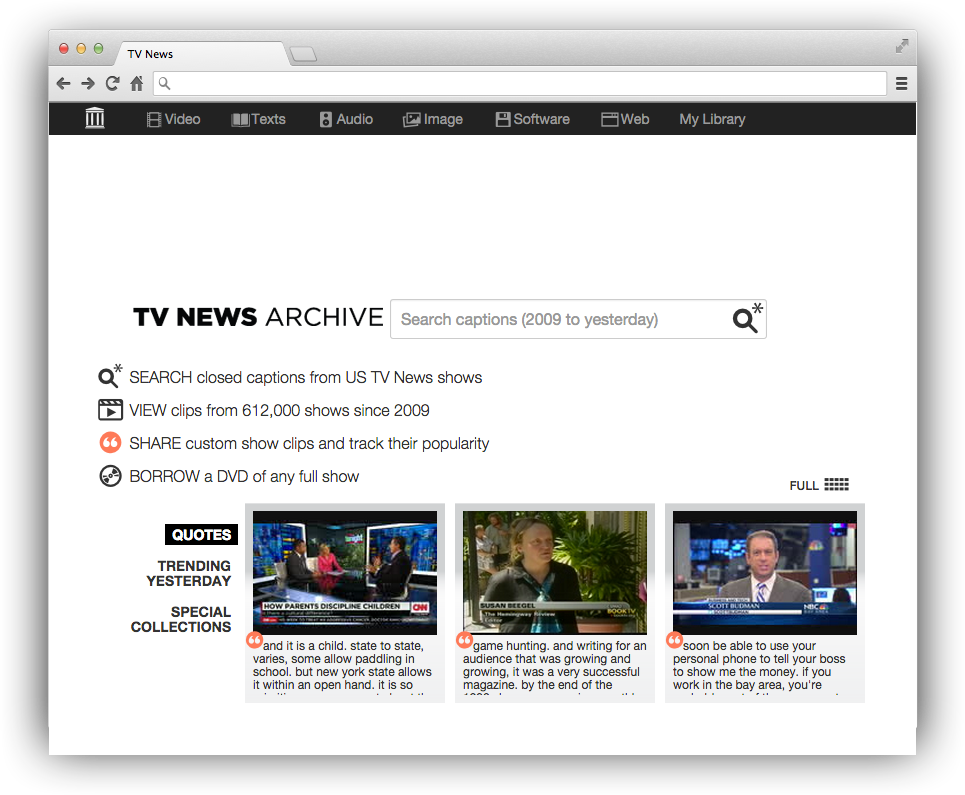 Internet Archive's TV News feature