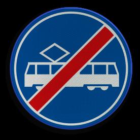 F16 - Einde rijbaan of -strook tram