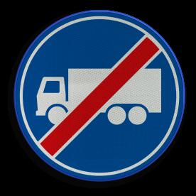 F22 - Einde rijbaan of -strook vrachtverkeer
