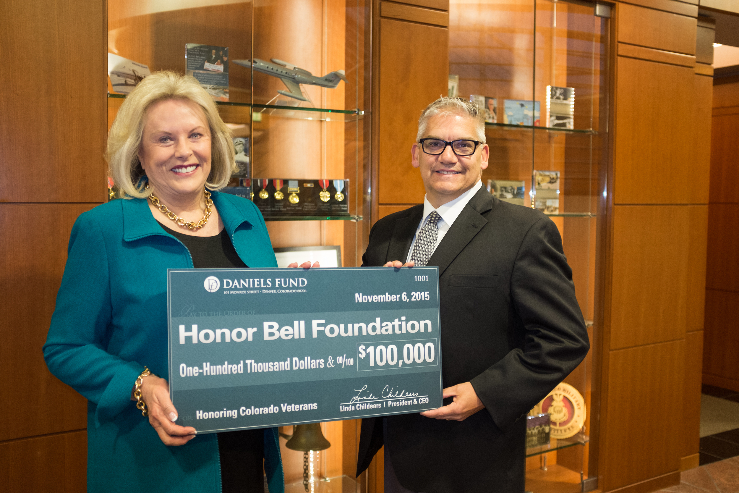 Daniels Fund President and CEO Linda Childears and Foundation Executive Director Lou Olivera