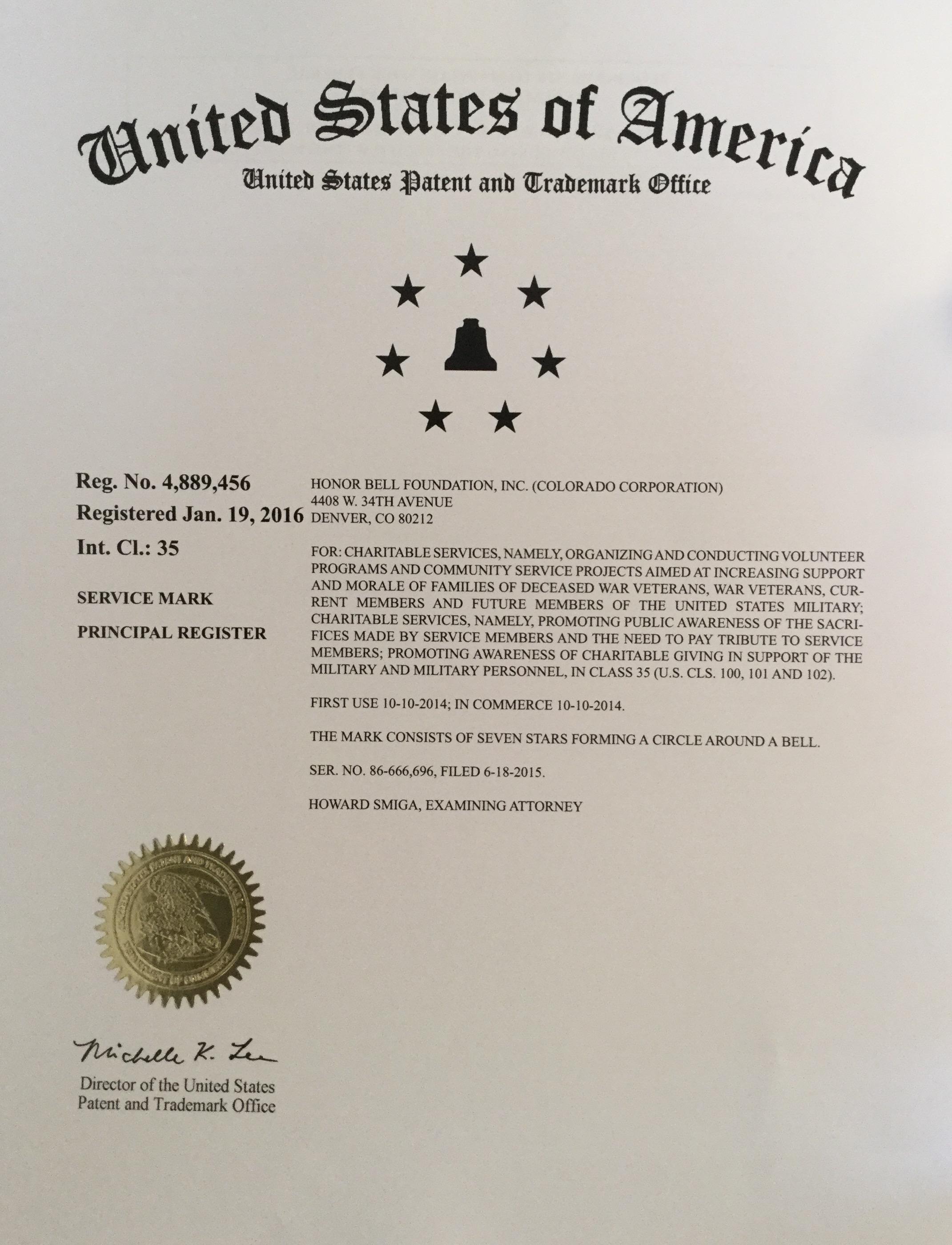 Our trademark registration letter.