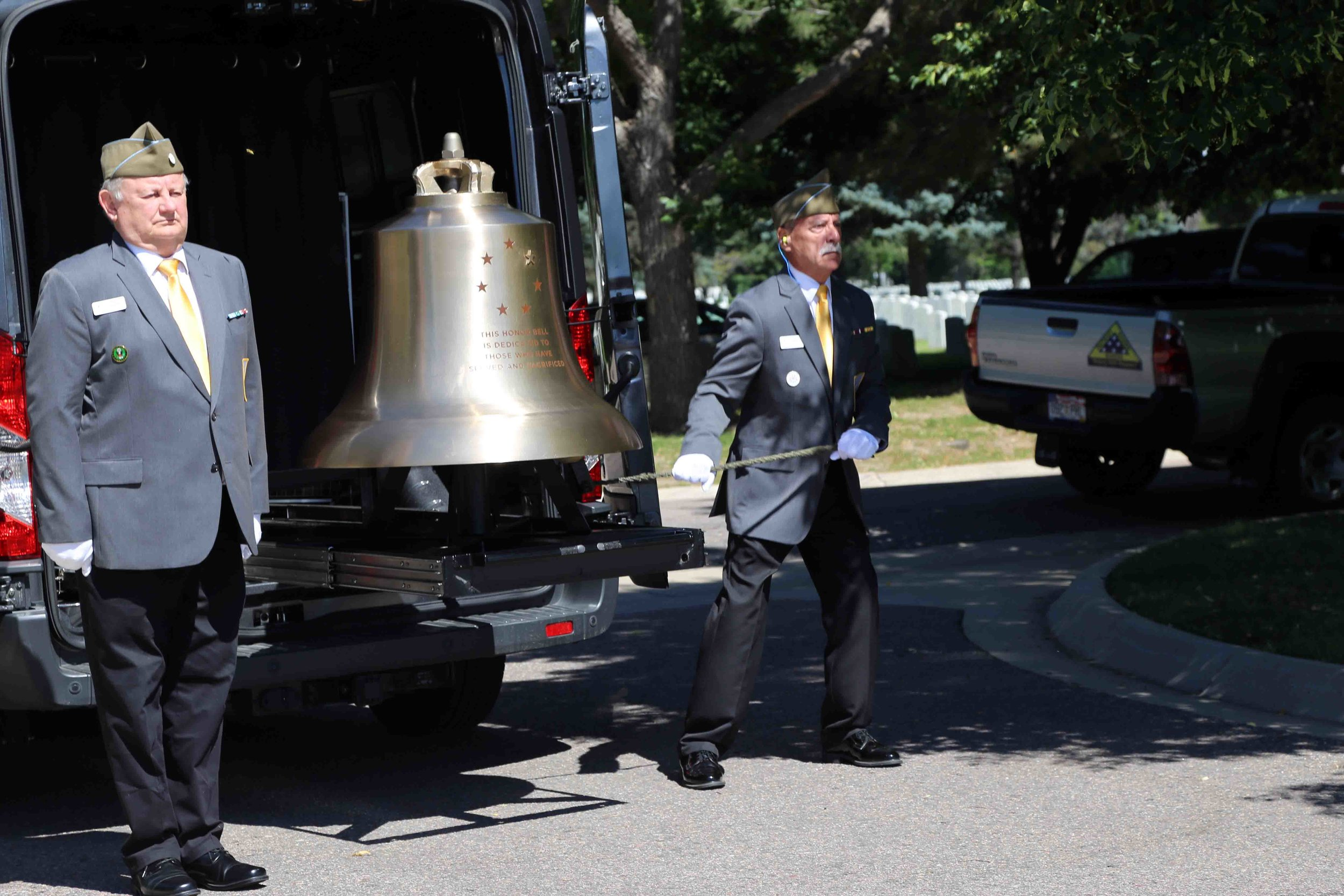 The Honor Bell being tolled for Wallace Eakes. Photo courtesy of Erick Stowe.